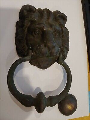 Architectural Hardware Antique Door Knocker Lion Head Brass Bronze Peerage