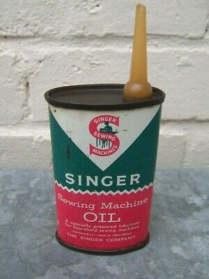 VINTAGE SINGER SEWING MACHINE OVAL HANDY OIL TIN 85ml DISPLAY AUTOMOBILIA