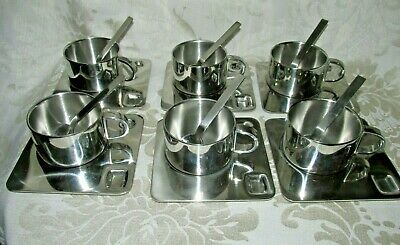 Set of 6x. Coffee Cup Set Espresso Mug Spoon Square Saucer Stainless Steel