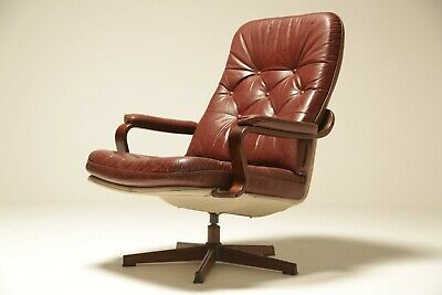 Vintage Burgundy Leather Lounge Chair by Gote Mobler, Sweden mid-century modern