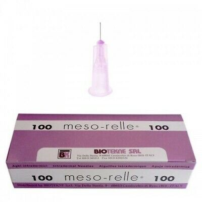 🇬🇧 Short MESO-RELLE mesotherapy needles 32G x 4mm pink 10 pcs.