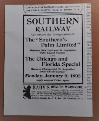 Antique Railroad 1904 Southern Railway New York Chicago and Florida Special Ad