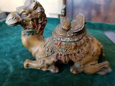 Antique  Inkwell Spelter Camel Hand Painted Metal