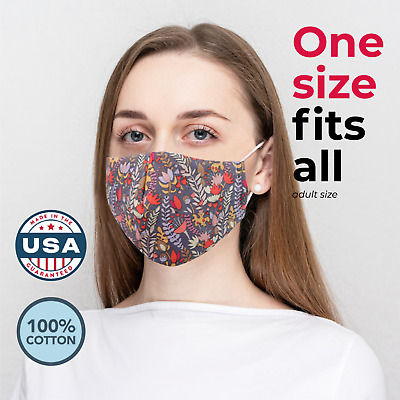 Made in USA Washable Reusable 3 Layers Cloth Face Mask w Filter Pocket Nose Clip