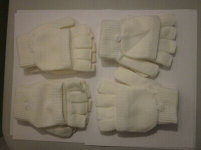 Woman's Winter Gloves - Fingerless - White/Ivory - 4 pairs (#1)