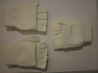 Woman's Winter Gloves - Fingerless - White/Ivory - 3 pairs (#1)
