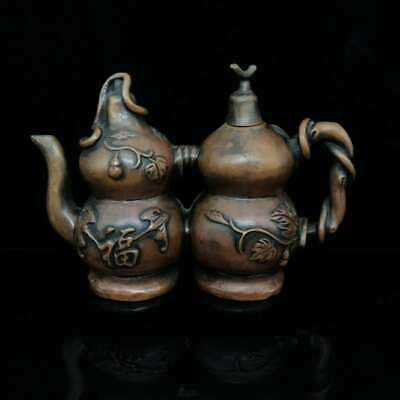 """7.9"""" Collect Chinese Bronze Twins Bottle Gourd Riches and Honour Wine Pot 多子多福"""