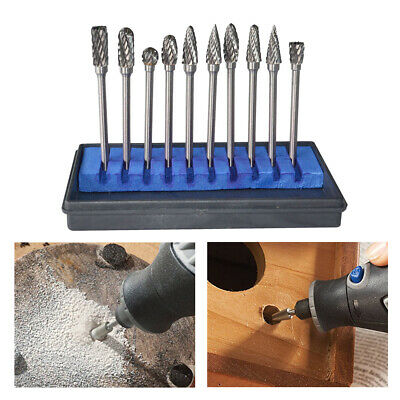 10Pcs Tungsten Steel Solid Carbide Burrs For Dremel Rotary Bit Accessories Tools