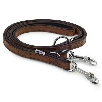 Ancol Padded Leather Dog Training Lead 1.8m or 2m Vintage Chestnut Police Style