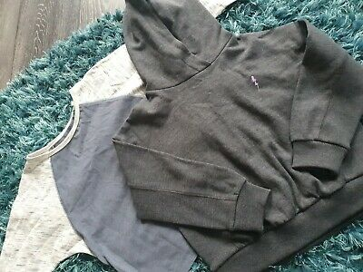 Next Girls Age 6 Dark Grey Cropped Over Head Hoodie and 3/4 Top