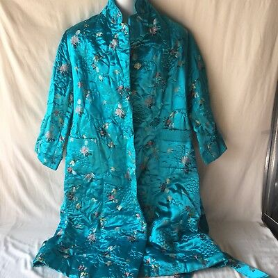 VTG Peony Shanghai China Blue Silk Robe Coat SZ 40 Embroidered Movie Prop