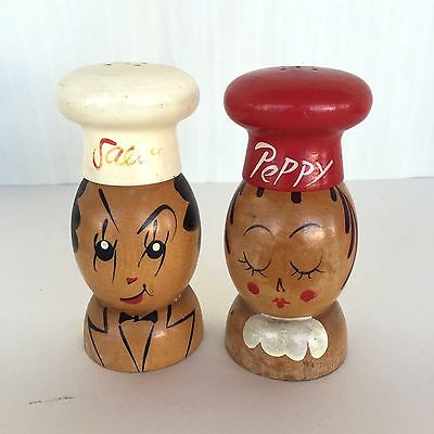 VTG Handmade In Japan Wood Salt And Pepper Shakers Chefs Woodpecker Woodware