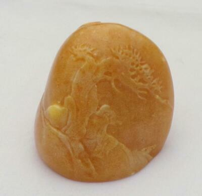 """Vtg Asian Chinese Carved Yellow Tianhuang Soapstone Chop Seal 2""""x 1 7/8"""" Stone"""