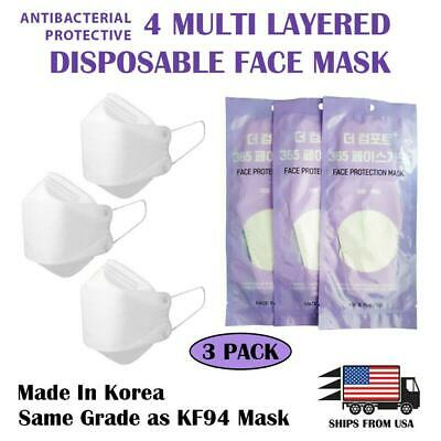 [Ships from USA] Protective Face Mask White (4 Multi Filter Layered) (3 Pack)