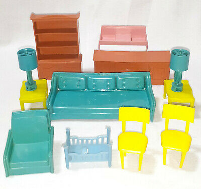 Lot Dollhouse Furniture MPC Hong Kong Sofa Chairs Cabinet Lamps Dresser Vintage