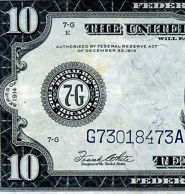 1914 $10 Federal Reserve Note *** Chicago District *** # G73018473A.