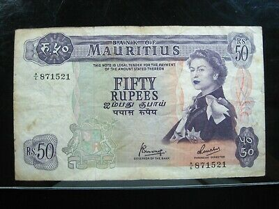 MAURITIUS 25 RUPEES 1967 BRITISH QUEEN PEN 21# Currency Bank Money Banknote