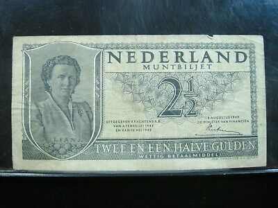 NETHERLANDS 2 1/2 GULDEN 1949 DUTCH 91# Currency Bank Money Banknote