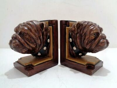 Vintage Pug Bulldog Hand Painted Plaster 1960's Dog Bookends- a Pair