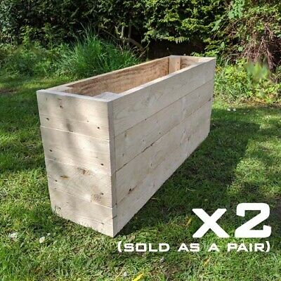 PAIR Of Wooden Vegetable Flower Herb Trough Raised Bed Planters Timber Planters