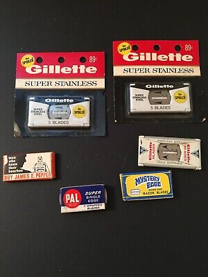 Lot 6 Packages Of Razor Blades, Gillette, James Pepper, Mystery Edge, Pal