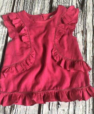 Girls Next Age 5 4-5 Years Fuschia Pink Ruffle Top Summer Looks Unworn