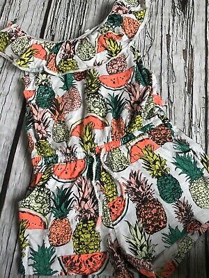 Girls Next Age 5 4-5 Summer Playsuit Pineapple Holiday Hardly Worn