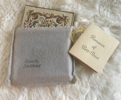 Vintage Schildkraut Powder Compact Hand Made Petit Point Embroidery 1940's-50's