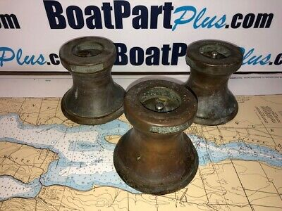 Set of 3 Antique Bronze Hawboldt Gas Engine Sailboat Winches - Nova Scotia