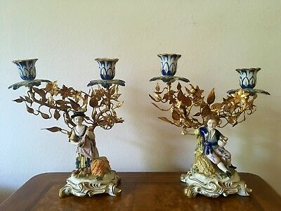 Pair of Porcelain Double Candlesticks Capodimonte with Gilt Metal Trees