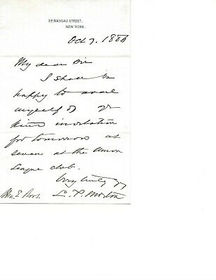 Vice President Levi Morton Parsons Autographed Signed Letter E Roos Oct 7 1886