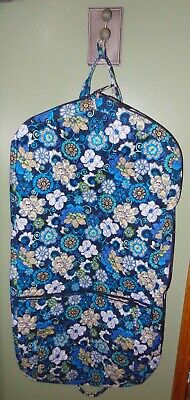 Vera Bradley Mod Floral Blue Garment Bag Clothes Storage Travel Carry On Luggage