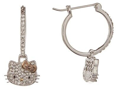 NEW Hello Kitty Sterling Silver Crystal w/Rose Gold Bow/Hoop Earrings