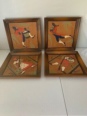 "Lot Of Vintage Mid Century Modern Studio RAN SU Signed Wall Art 14.25"" Square"