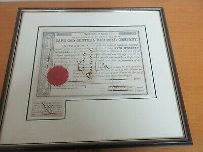 1865 $500 Cape Cod Railroad Company Framed Cancelled Bond