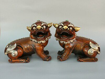 Chinese Exquisite Handmade beast copper statue A Pair
