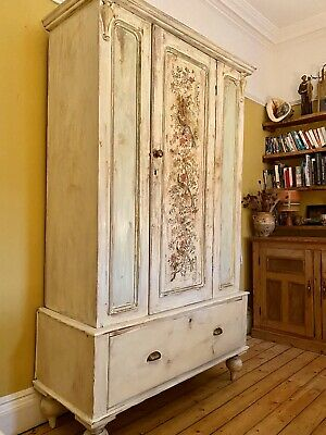 French Vintage Armoire / Wardrobe With Inlaid Peacock Design