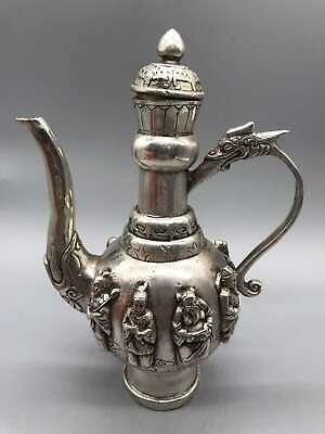 Collect China Qing Dynasty Paktong The Eight Immortals Dragon Handle Wine Pot