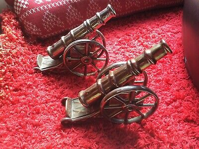 Large Vintage Pair Of Cast Iron Fireplace Cannons Artillery Army