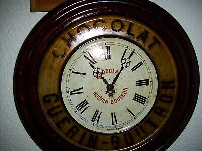 BOUTRON GUERIN CHOCOLATE CLOCK French Vintage Tolework NO CHOCOLAT REVILLON
