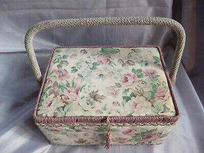Large fabric & wicker vintage style sewing basket storage craft with extras