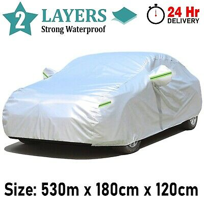XXL Full Car Cover Waterproof 2 Layer Cotton Heavy Duty Breathable UV Protection