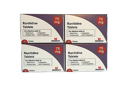 X4 boxes of Ranitidine 75mg. 12XTABLETS HEARTBURN INDIGESTION ACID