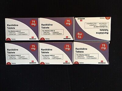 X6 boxes of Ranitidine 75mg. 12XTABLETS HEARTBURN INDIGESTION ACID