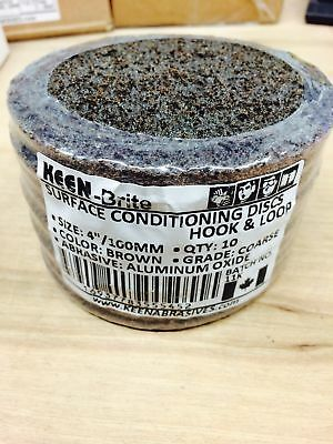 """10- Pack, Coarse 4"""" Hook Surface Conditioning Discs, KEEN Abrasives #55452"""