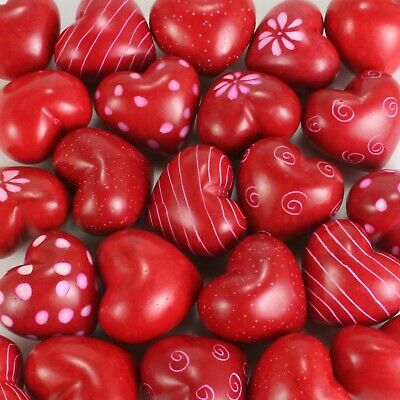 "(pack of six) 1.25"" red soapstone hearts in assorted designs. Valentine's gift."