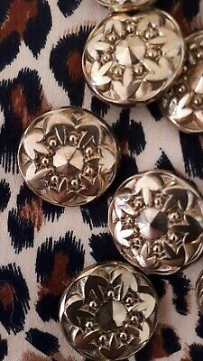 True VTG CIRCA 1920s  / 30s 12x Gold Glass Buttons Lots Available New Old Stock