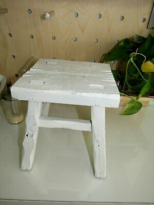 "Vtg Primitive Stool Small 8"" Wood Plant Stand Hand Made Farmhouse Antique"