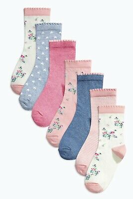 Bnwt Next Pink Floral 7 Pair Socks Seven Pack Size 12.5-3.5