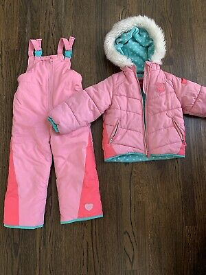 LONDON FOG Girls' Snowsuit with Puffer Jacket Size 5-6 Preowned